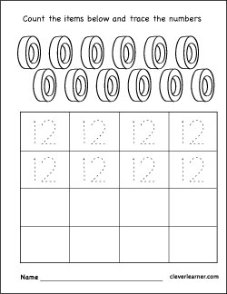 Tracing Numbers &amp- Counting: 12 | Worksheet | Education.com