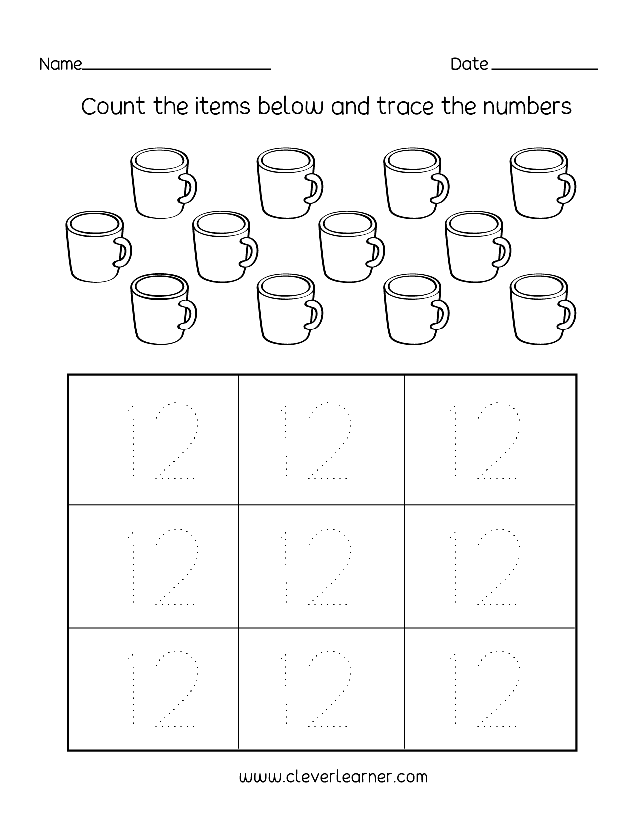 - Number Twelve Writing, Counting And Identification Printable