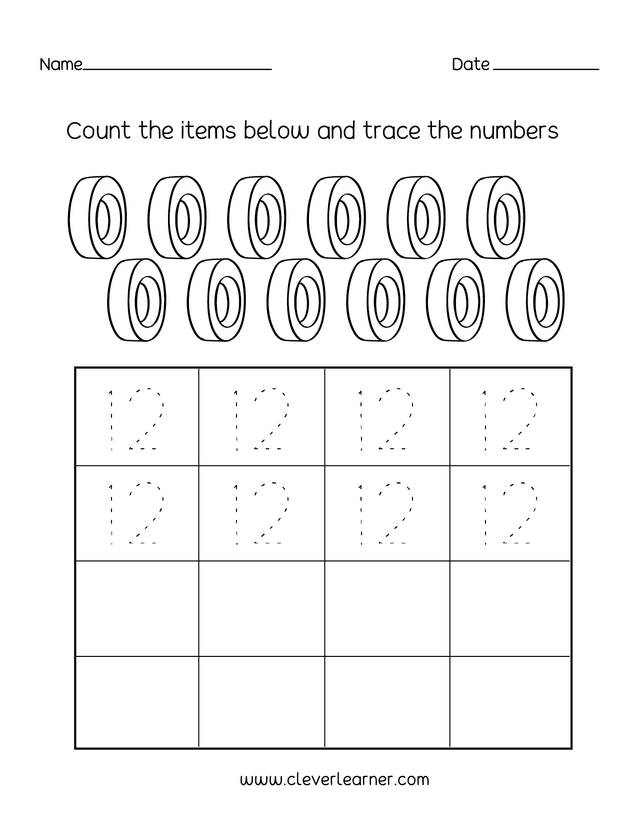Number twelve writing, counting and identification ...