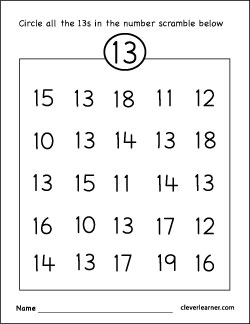 Number 13 writing, counting and identification printable worksheets ...