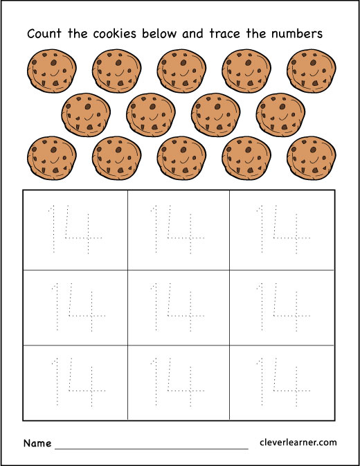 number 14 practice worksheets for preschool children 1
