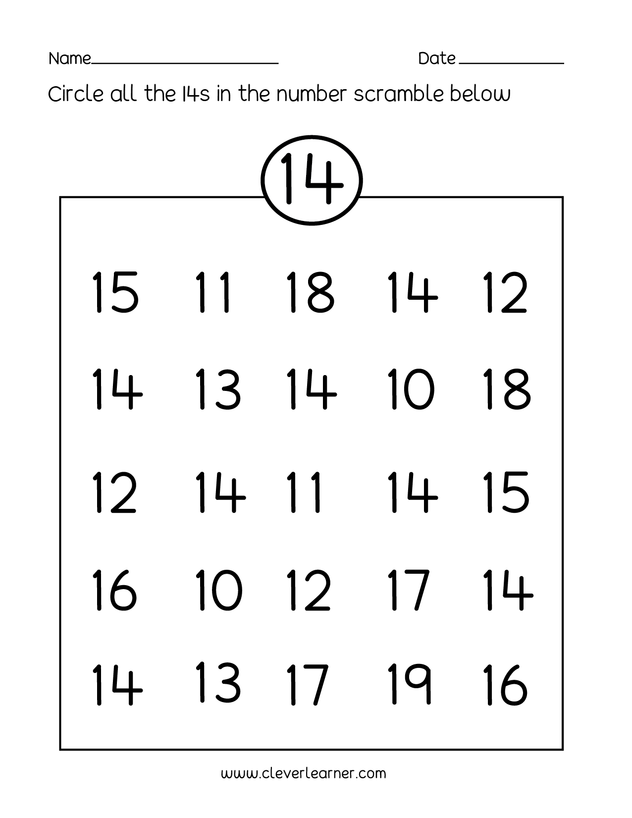 Number 14 writing, counting and identification printable worksheets ...