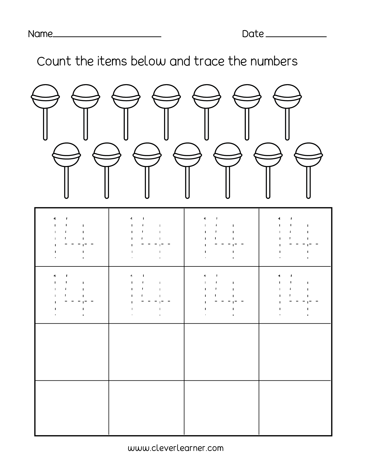 Number 14 writing, counting and identification printable ...