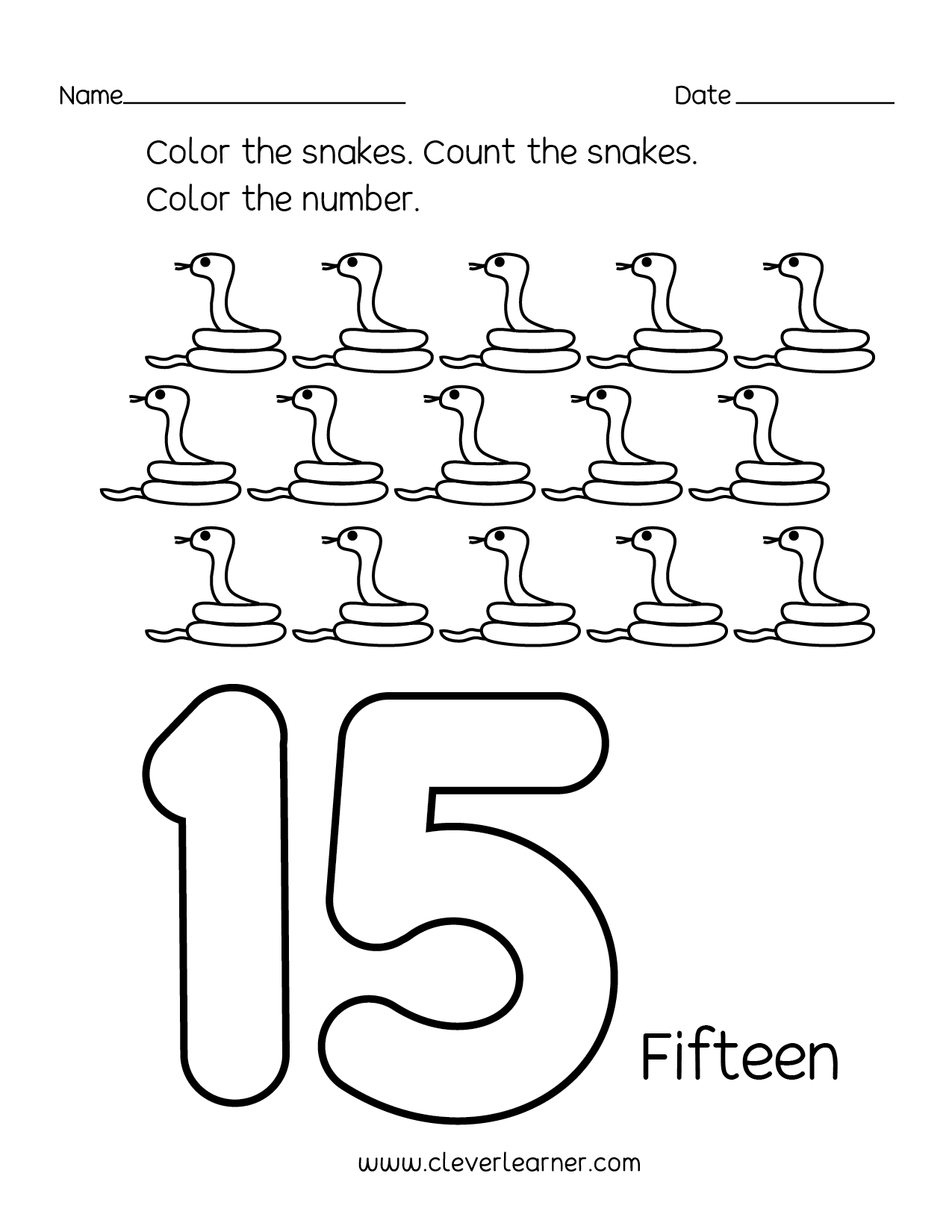 Number 15 writing, counting and identification printable worksheets ...