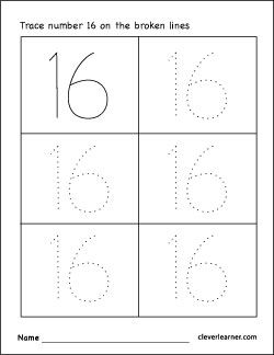 Number 16 writing, counting and identification printable worksheets ...
