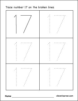 number 17 tracing worksheets for preschool children 2