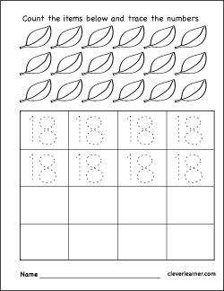 Number 18 writing counting and