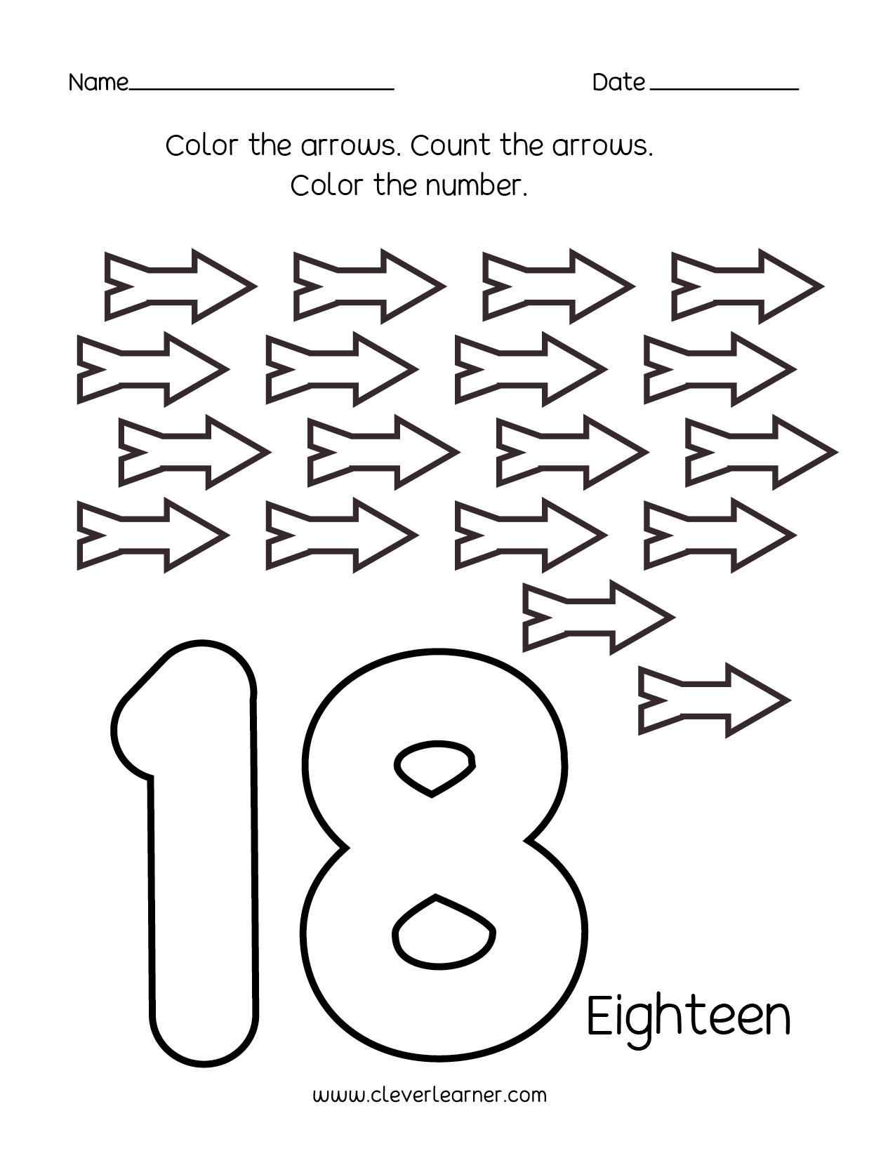 number 18 worksheets for preschool children 01