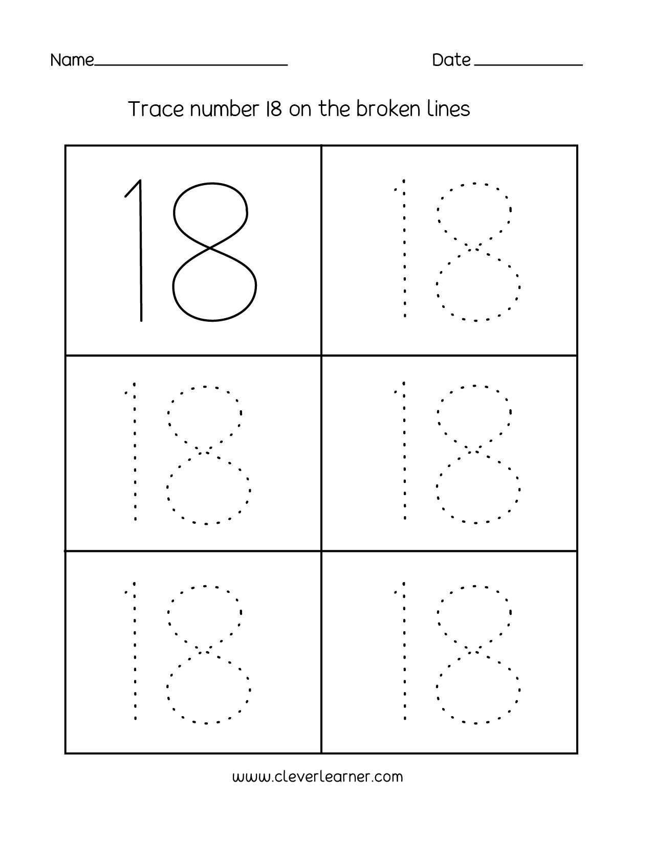 Number 18 writing counting and identification printable – Free Number Tracing Worksheets