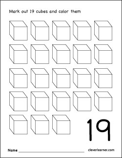 number 19 coloring worksheet for children