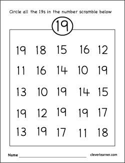 Number 19 writing, counting and identification printable worksheets ...