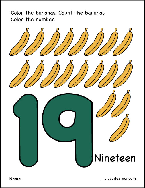 Number 19 Writing Counting And Identification Printable Worksheets. Free Number 19 Practice Sheet. Preschool. Preschool Worksheet Number 19 At Clickcart.co