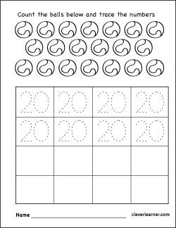 Number 20 writing, counting and identification printable worksheets ...
