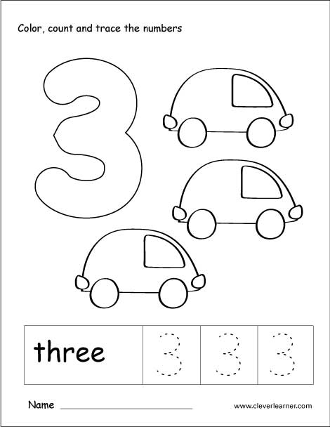 Number Three Writing, Counting And Identification Activity Worksheets For Preschool  Children