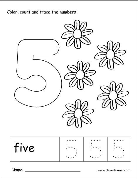 Number five writing, counting and recognition activities for ...