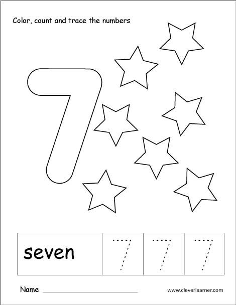 Number seven writing, counting and recognition activities for children