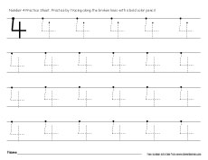 practice number 4 worksheet for preschool kids - Worksheets For Nursery Kids