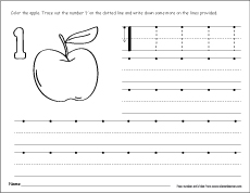 Number One writing, counting and recognition printable worksheets ...