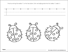 number one writing counting and recognition printable worksheets  count and circle the number color and write the number