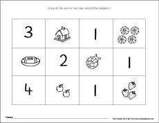 Number One Writing Counting And Recognition Printable Worksheets