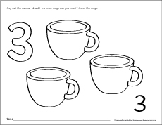 Number Three 3 Activity on Preschool Writing