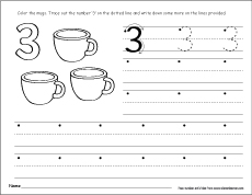 Number three writing counting and identification activity learning to write number 3 how to write number 3 ibookread ePUb
