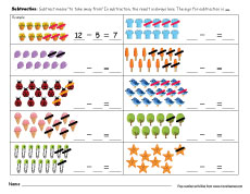 printable count and subtract take away worksheets for preschools printable subtraction worksheets for kids