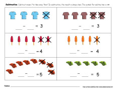 Take-away activities for children Free printable minus worksheets ...