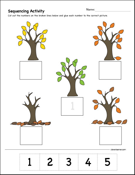 Which comes first, second and third, sequence activity for kids