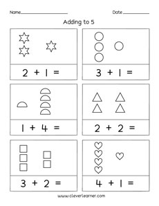 printable count and add worksheets for preschools. Black Bedroom Furniture Sets. Home Design Ideas