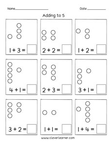 Printable Count And Add Worksheets For Preschools - View Addition Printable Kindergarten Math Worksheets Pictures