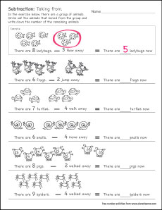 Printable count and subtract (take away) worksheets for ...