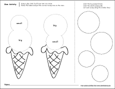 Big And Small Size Worksheets For Preschoolers on Preschool Number Craft Ideas