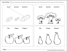 Sizes, big and small activity worksheet for preschool children