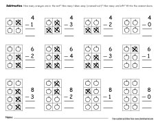 printable count and subtract take away worksheets for preschools. Black Bedroom Furniture Sets. Home Design Ideas