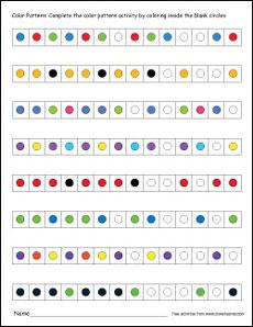 printable color worksheet free colour pattern worksheet - Color Pattern Worksheets