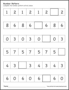 printable number pattern worksheets for preschools. Black Bedroom Furniture Sets. Home Design Ideas