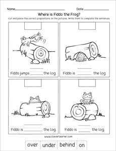 Preposition printables for preschools and kindergartens