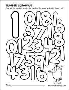 number scramble colouring sheets