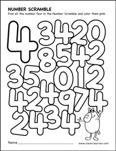 number scramble activity worksheet for number 4 for preschool children