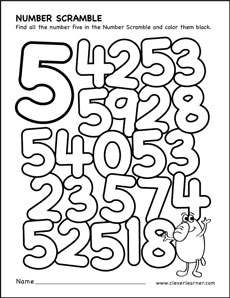 Number Scramble Activity Worksheet For 5 Preschool Children. Number Scramble Colouring Sheets For Kids. Preschool. Printables For Preschool Numbers At Clickcart.co