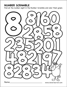 Number scramble activity worksheet for number 8 for preschool children – Number 8 Worksheets