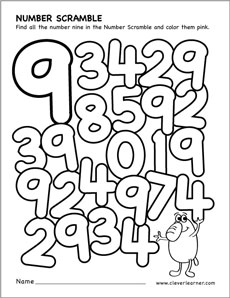 Number scramble activity worksheet for number 9 for preschool children