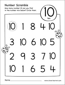 Number scramble activity worksheet for number 10 for preschool children