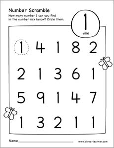 number scramble activity worksheet for number 1 for preschool children
