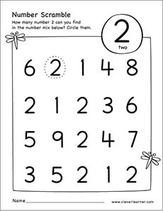 Number Scramble Activity Worksheet For Number 2 For Preschool Children