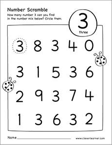 Number scramble activity worksheet for number 3 for preschool children