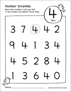 picture about Printable Number 4 identified as Range scramble video game worksheet for range 4 for