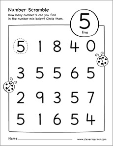 number scramble activity worksheet for number 5 for preschool children