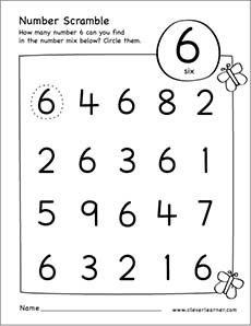 Number scramble activity worksheet for number 6 for ...